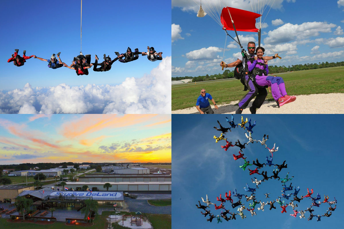 collage of people skydiving at Skydive DeLand and skydiving facilities