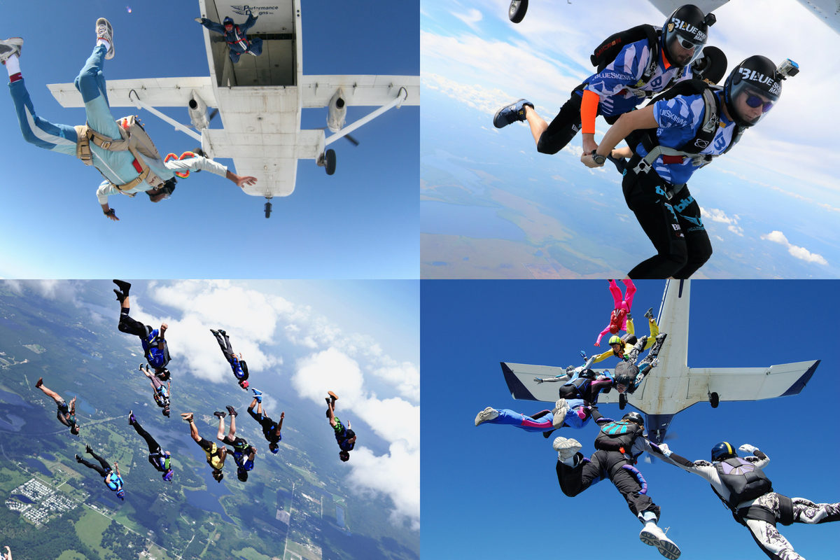 collage of licensed skydivers having fun in beautiful blue skies