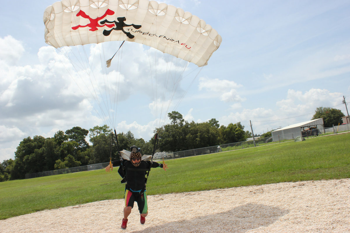 fun jumper makes landing from skydive at Skydive DeLand