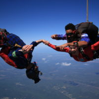videographer flies upside down while filming first time skydiver