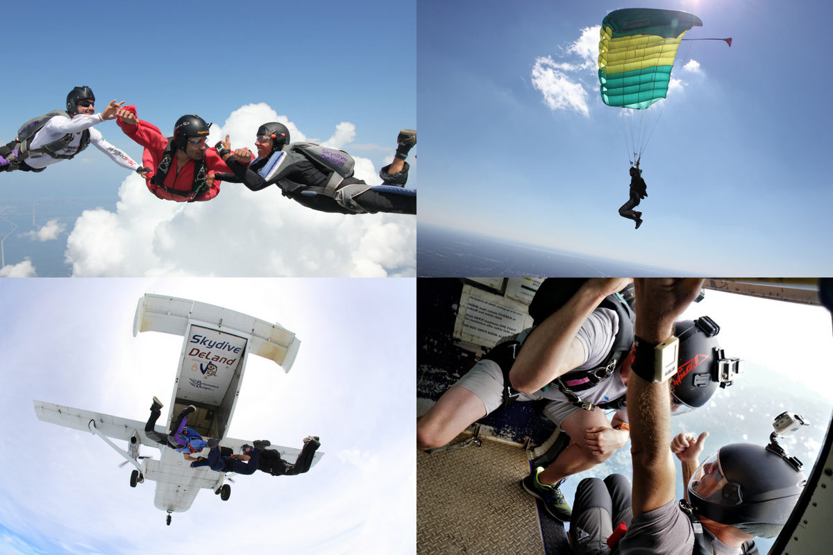 collage of 4 images show students learning to skydive through DeLand's AFF course
