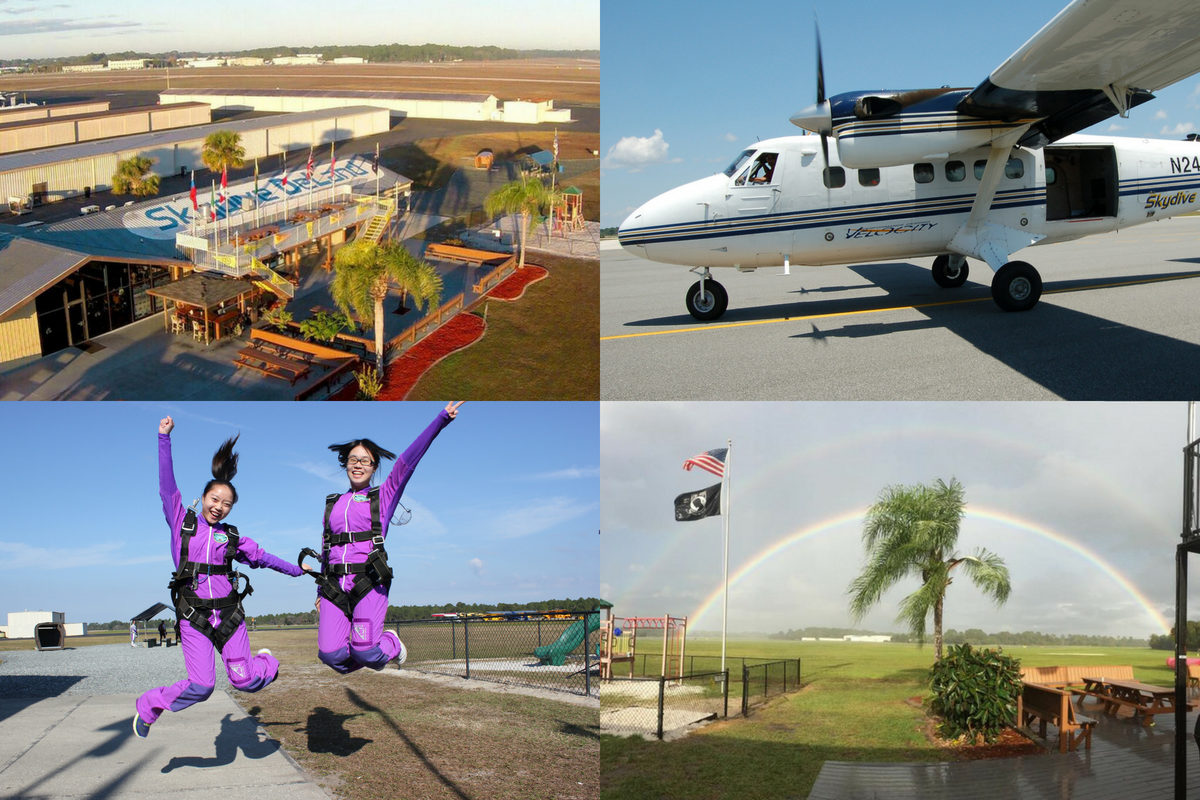 collage of Skydive DeLand's hangar, aircraft, customers and double rainbow over landing area