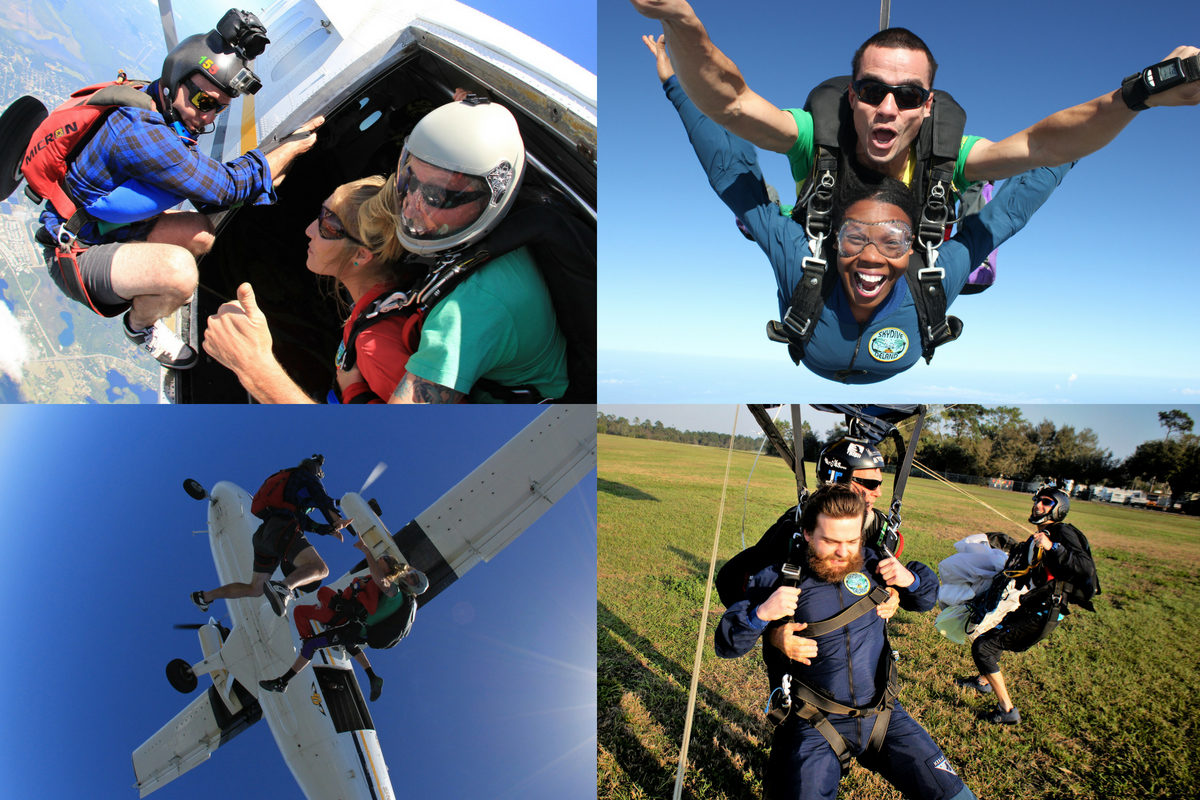 collage with 4 images of first time tandem skydivers jumping near Orlando, FL